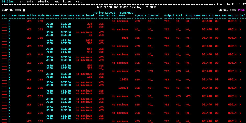 OMC-FLASH™ 5.0.0 - JES2-JES3 JOB CLASS Information Display