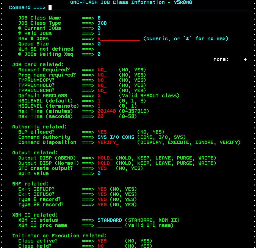 OMC-FLASH™ 5.0.0 - JES2-JES3 JOB CLASS Information Display - Line Command I
