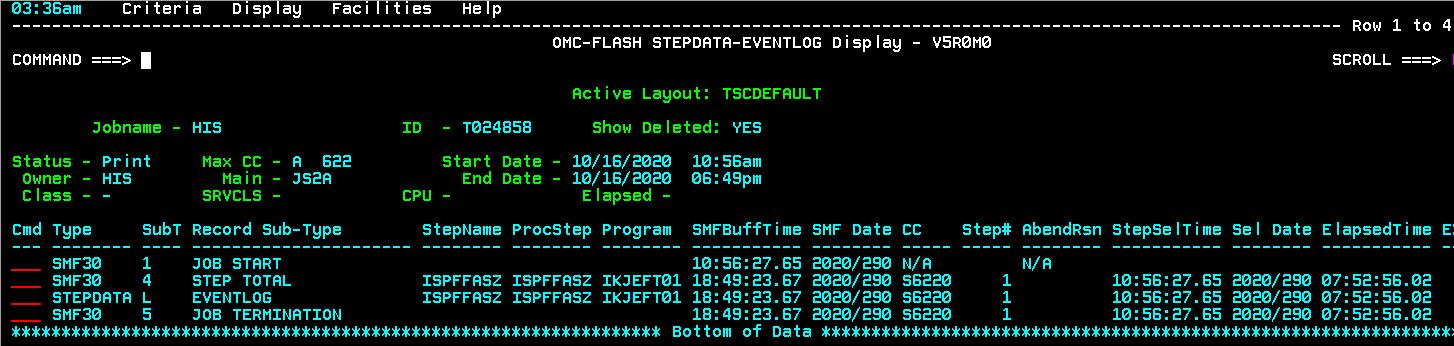STEPDATA-Eventlog Display